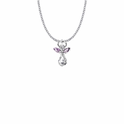 7/8 Inch Silver Plated Glass Crystal June Alexandrite Birthstone Angel Necklace