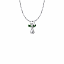 7/8 Inch Silver Plated Glass Crystal May Emerald Birthstone Angel Necklace