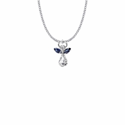 7/8 Inch Silver Plated Glass Crystal September Sapphire Birthstone Angel Necklace