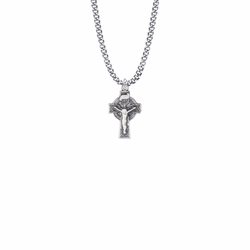 7/8 Inch Pewter Celtic Knot Crucifix Necklace