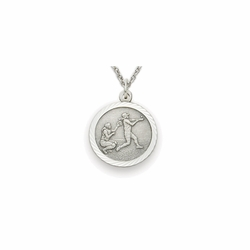 7/8 Inch Pewter Girls Softball Medal with Cross on Back