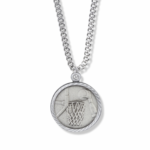 7/8 Inch Pewter Round Basketball Medal with St. Christopher on Back