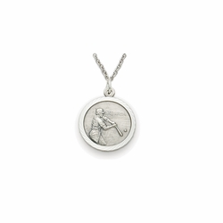 7/8 Inch Pewter Round Boys Baseball Medal with St. Christopher on Back