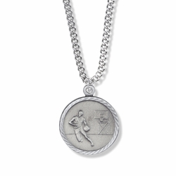7/8 Inch Pewter Round Boys Basketball Medal with St. Christopher on Back