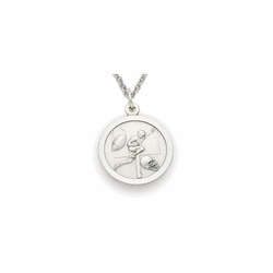 7/8 Inch Pewter Round Boys Football Medal with Cross on Back
