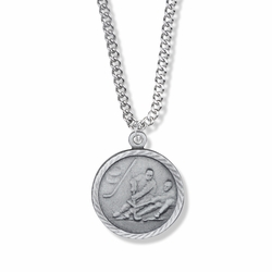 7/8 Inch Pewter Round Boys Ice Hockey Medal with Cross on Back