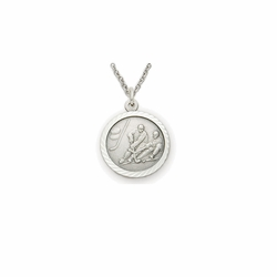 7/8 Inch Pewter Round Boys Ice Hockey Medal with St. Christopher on Back