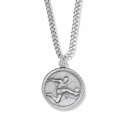 7/8 Inch Pewter Round Boys Soccer Medal with St. Christopher on Back