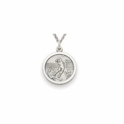 7/8 Inch Pewter Round Boys Volleyball Medal with Cross on Back