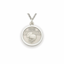 7/8 Inch Pewter Round Football Medal with Cross on Back