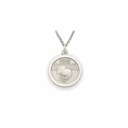 7/8 Inch Pewter Round Football Medal with St. Christopher on Back