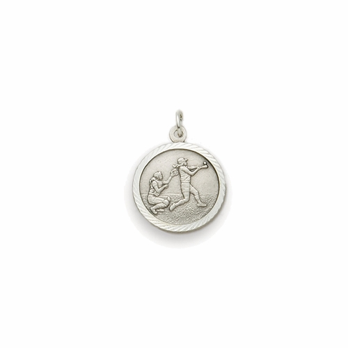 7/8 Inch Pewter Round Girls Softball Medal with St. Christopher on Back