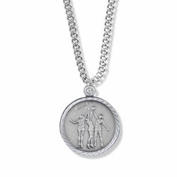 7/8 Inch Pewter Round Girls Basketball Medal with St. Christopher on Back
