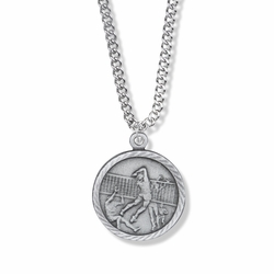 7/8 Inch Pewter Round Girls Volleyball Medal with St. Christopher on Back