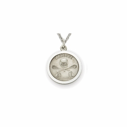 7/8 Inch Pewter Round Lacrosse Medal with Cross on Back