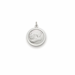 7/8 Inch Pewter Round Track Medal with St. Christopher on Back