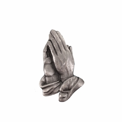 7/8 x 5/8 Inch Antiqued Pewter Serenity Praying Hands Lapel Pin