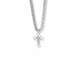 7/8 Inch Polished Sterling Silver Open Budded Ends Cross Necklace with Marcasite Stones