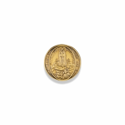 7/8 Inch Round Pewter Gold Plated Our Lady of Fatima Pin