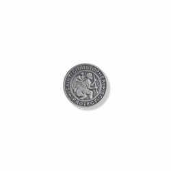 7/8 Inch Round Pewter St. Christopher, Patron of Travelers Pin