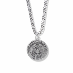 7/8 Inch Round Pewter U.S. Army Medal with St. Michael on the Back