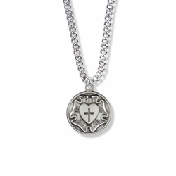 7/8 Inch Round Sterling Silver Diamond Engraved Lutheran Rose Medal