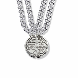 7/8 Inch Round Sterling Silver Mitzpah Medal with Diamond Engraving