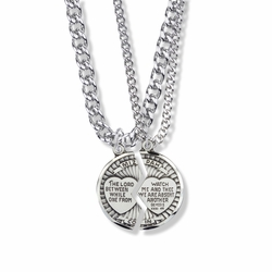 7/8 Inch Round Sterling Silver Mizpah Medal with Diamond Engraving