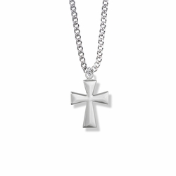 7/8 Inch Silver Plated Boy First Communion Flare Cross Necklace