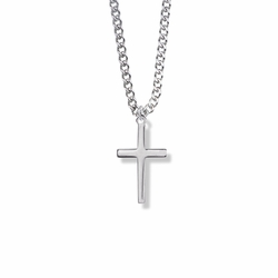 7/8 Inch Silver Plated Cross Necklace