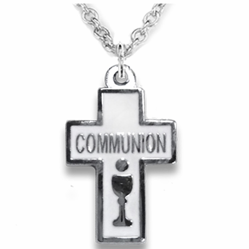 7/8 Inch Silver Plated Enameled Cross and Centered Communion Chalice Necklace