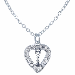 7/8 Inch Silver Plated Heart with Cubic Zirconia Stones and Chalice Necklace