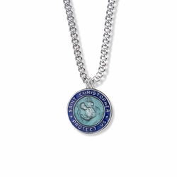 7/8 Inch Sterling Silver Blue Enameled Round St. Christopher Medal, Patron of Travelers