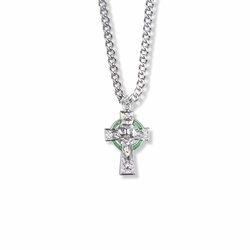 7/8 Inch Sterling Silver Celtic Green Halo Crucifix Necklace
