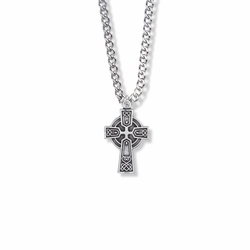 7/8 Inch Sterling Silver Celtic Trinity Knot Cross Necklace