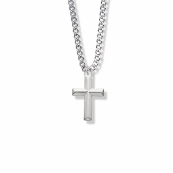 7/8 Inch Sterling Silver Cross with Beveled Design Necklace
