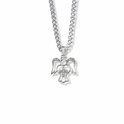 7/8 Inch Sterling Silver Crystal Cubic Zirconia Outlined Angel Cross Necklace