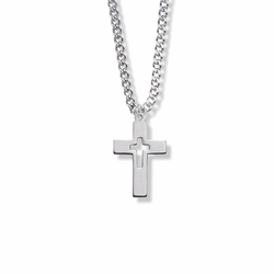 7/8 Inch Sterling Silver Cut Out Cross Necklace