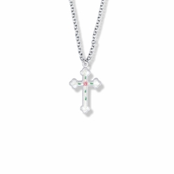 7/8 Inch Sterling Silver Enameled Rose and Budded Ends Cross Necklace