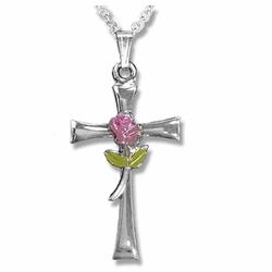 7/8 Inch Sterling Silver Enameled Rose Cross Necklace