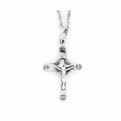 7/8 Inch Sterling Silver Filigree Crucifix Necklace