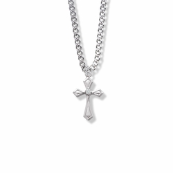 7/8 Inch Sterling Silver Flared and Pointed Ends Cross Necklace with Cubic Zirconia Stone