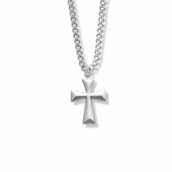 7/8 Inch Sterling Silver Flared Cross Necklace