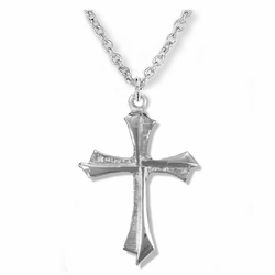 7/8 Inch Sterling Silver Flared Pointed Ends Cross Necklace