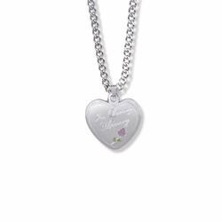 7/8 Inch Sterling Silver In Loving Memory Heart Medal