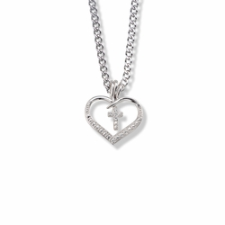 7/8 Inch Sterling Silver Open Heart and Cross  Necklace with Cubic Zirconia Stones