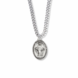 7/8 Inch Sterling Silver Oval Miraculous Medal