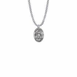 7/8 Inch Sterling Silver Oval St. Lucy Medal, Patron Saint of the Blind
