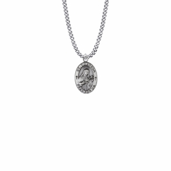 7/8 Inch Sterling Silver Oval St. Theresa Medal, Patron Saint of Aviators and Missions