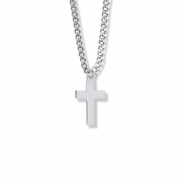 7/8 Inch Sterling Silver Plain Cross Necklace